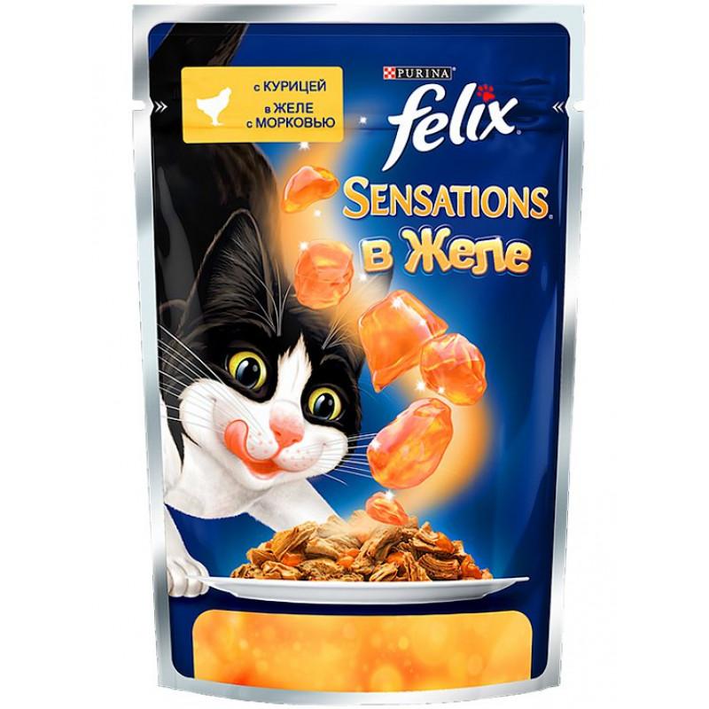 Влажный корм для взрослых кошек FELIX Sensations с курицей в желе с морковью, 85 гр