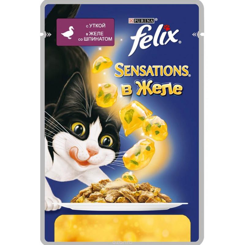 Влажный корм для взрослых кошек FELIX Sensations с уткой в желе с томатами, 85 гр