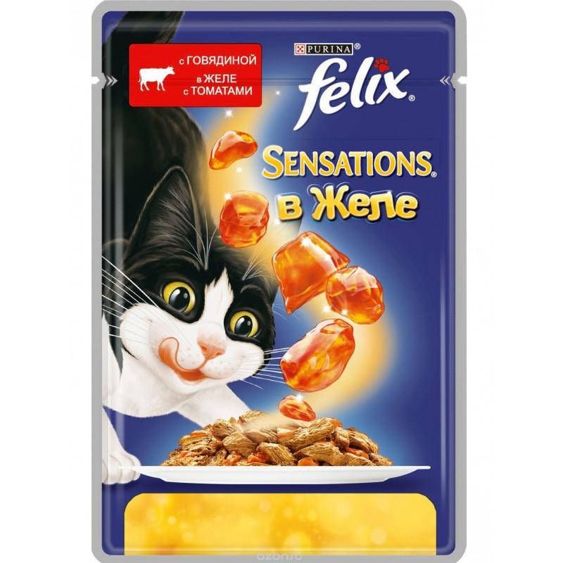 Влажный корм для взрослых кошек FELIX Sensations с говядиной в желе с томатами, 85 гр