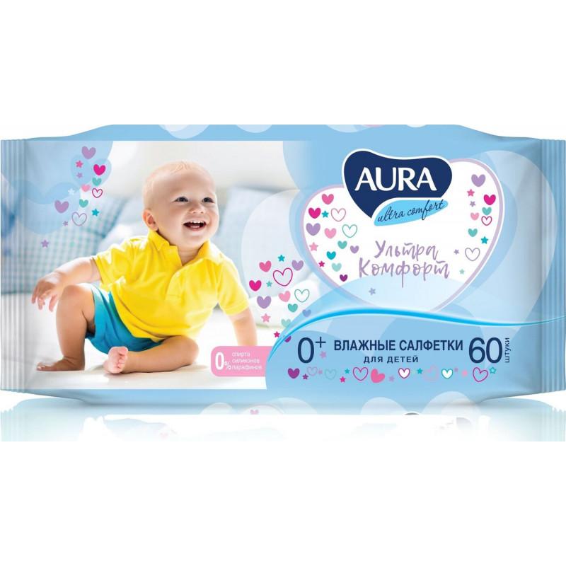 """Влажные салфетки для детей """"AURA"""" Ultra Comfort, 60шт"""