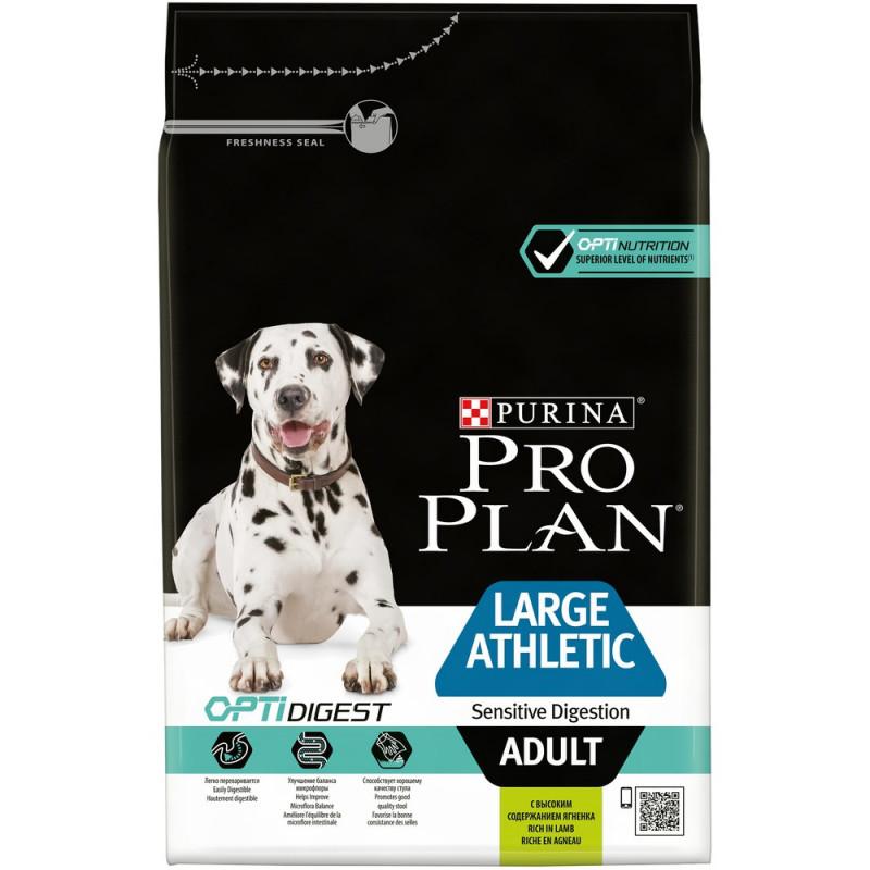 Сухой корм Pro Plan® для взрослых собак крупных пород с атлетическим телосложением с чувствительным пищеварением, с ягненком, 3 кг