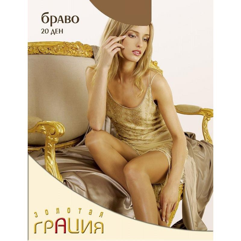 Колготки женские элитная серия Грация Браво 20den цвет загар 3 размер, 1шт