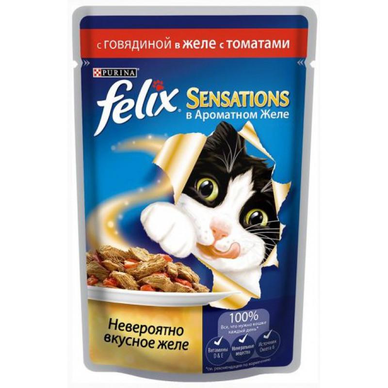 Влажный корм для взрослых кошек Felix Sensations говядина в соусе с томатами, 85 гр