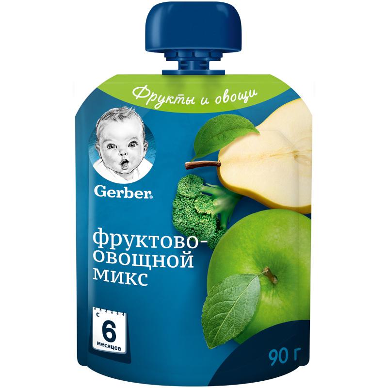 Пюре фруктовое Gerber фруктово-овощной микс для детей с 5-ти месяцев, 90гр