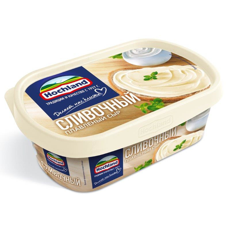 """Сыр """"Hochland"""" плавленый в ванночке cливочный 55% жирн, 200гр"""