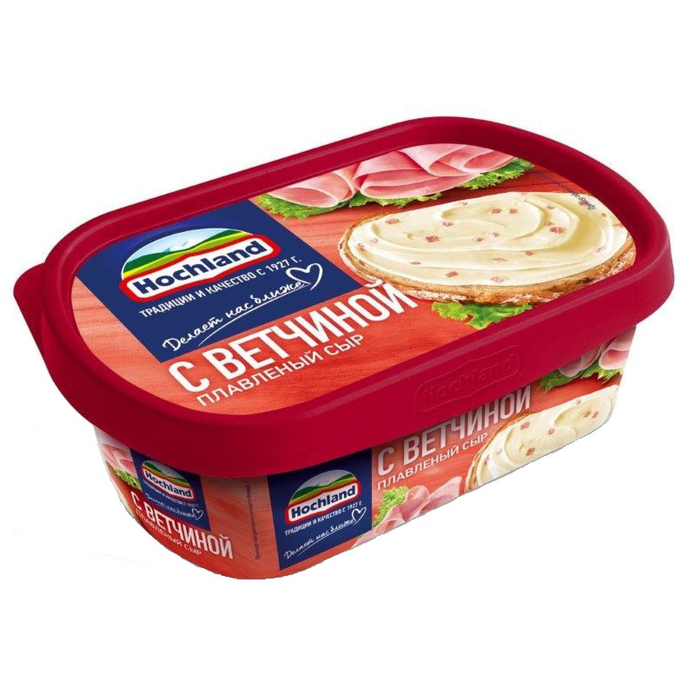 """Сыр """"Hochland"""" плавленый в ванночке c ветчиной 55% жирн, 200гр"""