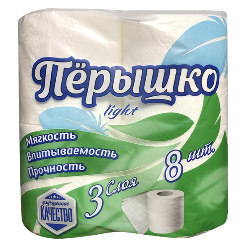"""Туалетная бумага 3-х слойная белая """"Пёрышко"""", 8рул"""