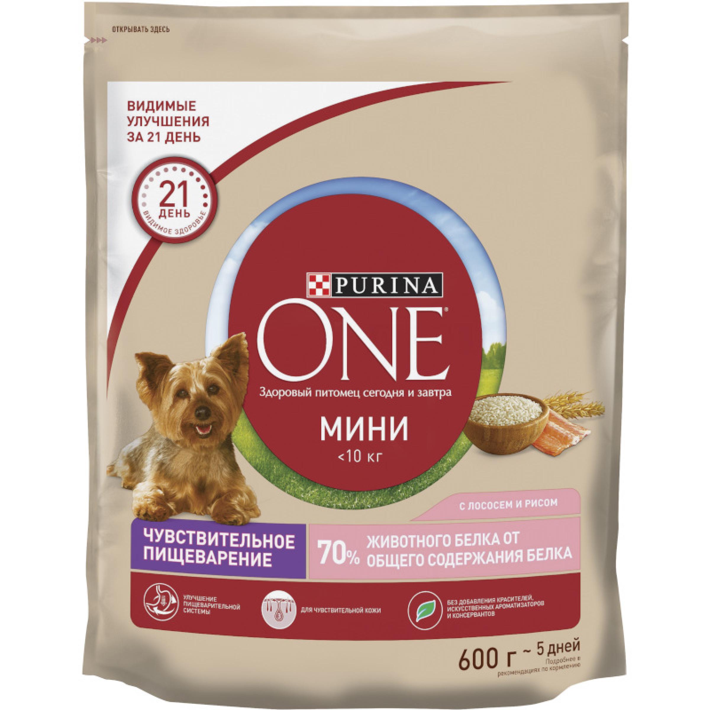 Сухой корм Purina ONE® для собак мелких пород с чувствительным пищеварением, с лососем и рисом, 600 г