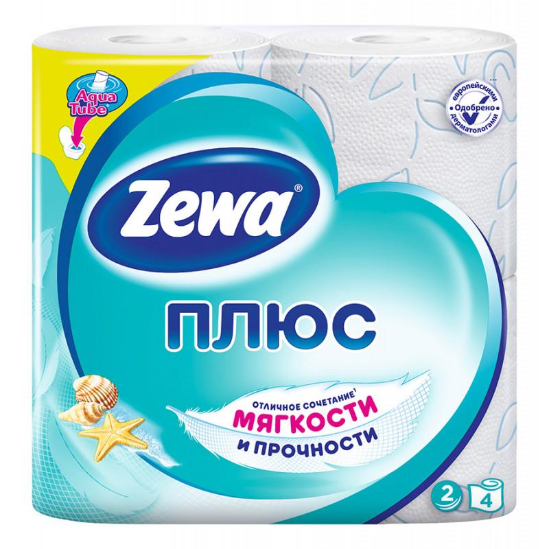 Туалетная бумага Zewa Плюс Океан Свежести 2 слоя, 4 рулона