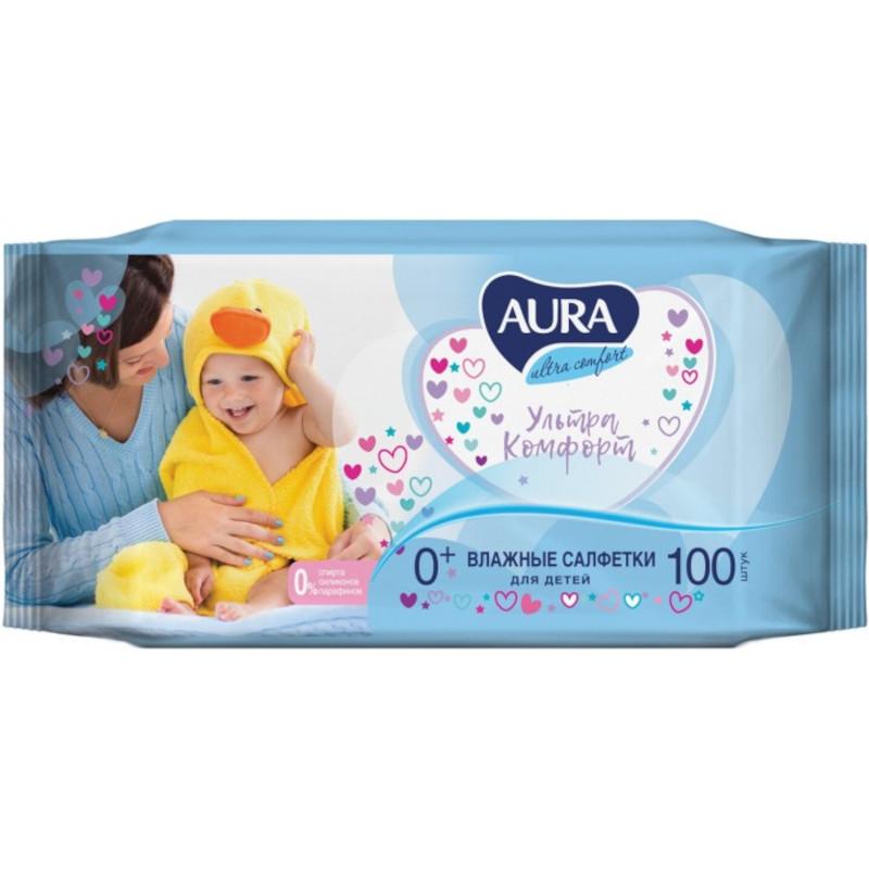 Влажные салфетки Aura для детей Ultra Comfort с экстрактом алоэ и витамином Е, 100шт
