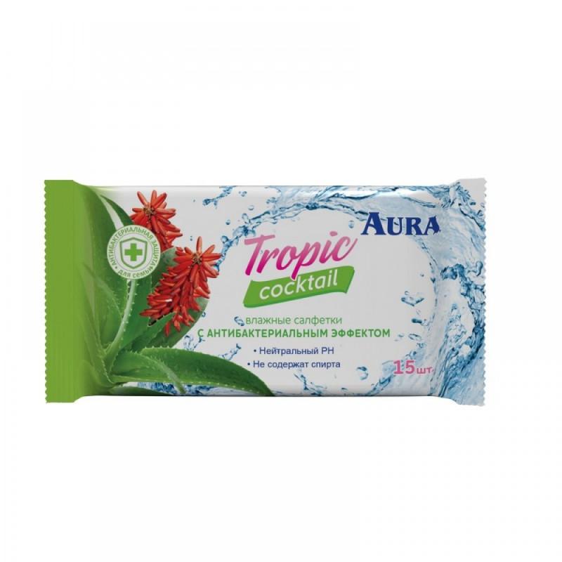 """Салфетки влажные """"Aura TROPIC COCKTAIL"""" c антибактериальным эффектом, 15 шт."""