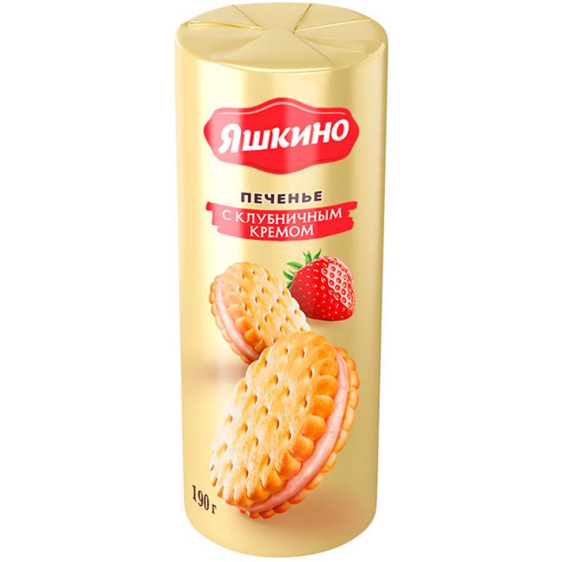 """Печенье """"Яшкино"""" Сэндвич с клубничным кремом, 182г"""