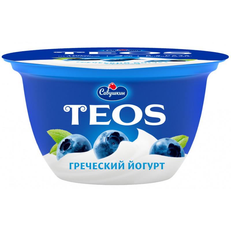 "Йогурт 2% Черника ""Греческий TEOS"" Савушкин продукт, 140гр."