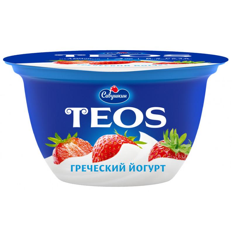 """Йогурт 2% Клубника """"Греческий TEOS"""" Савушкин продукт, 140гр."""