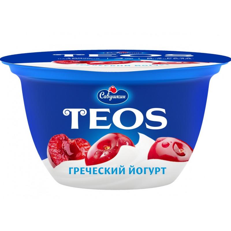 "Йогурт 2% Вишня ""Греческий TEOS"" Савушкин продукт, 140гр."