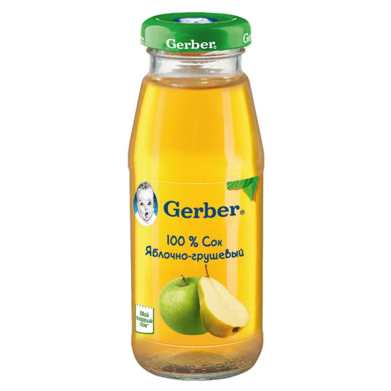 Сок Gerber яблочно-грушевый осветленный, 175 мл