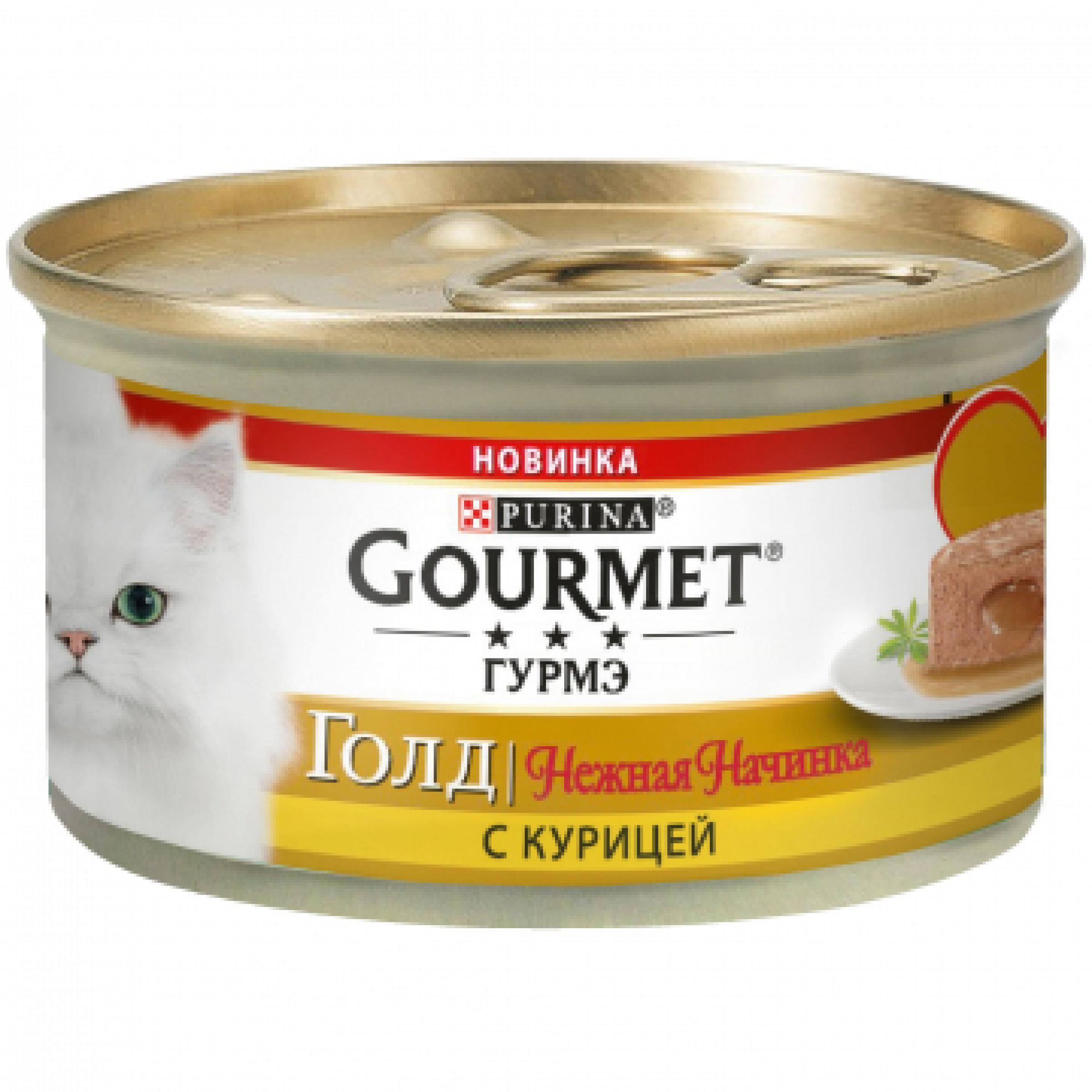 Влажный корм для кошек GOURMET Gold нежная начинка с курицей, 85 гр