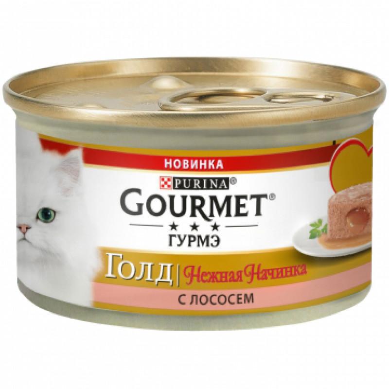Влажный корм для кошек GOURMET Gold нежная начинка с лососем, 85 гр