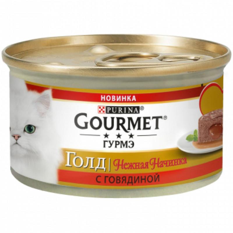 Влажный корм Gourmet Gold Нежная начинка с говядиной, 85гр