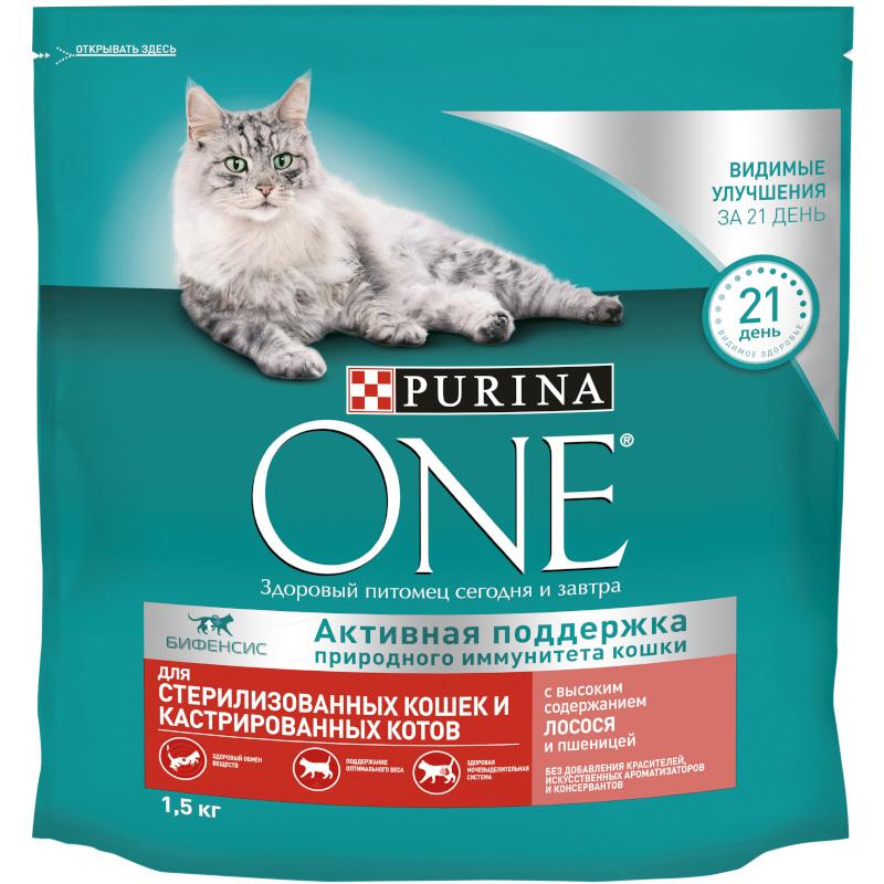 Сухой корм Purina ONE для стерилизованных кошек лосось и пшеница, 1. 5 кг