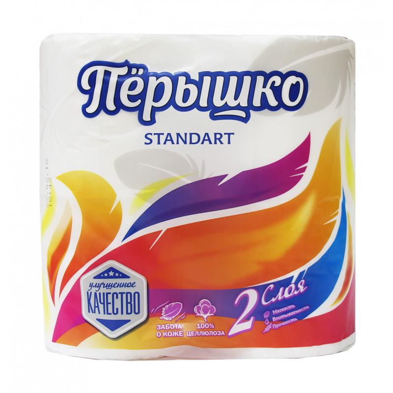 Туалетная бумага Перышко белая 2-х слойная, 4 рулона
