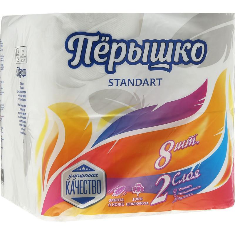 Туалетная бумага Перышко белая 2-х слойная, 8 рулонов