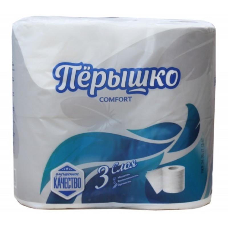 Туалетная бумага Перышко Comfort белая 3-х слойная, 4 рулона