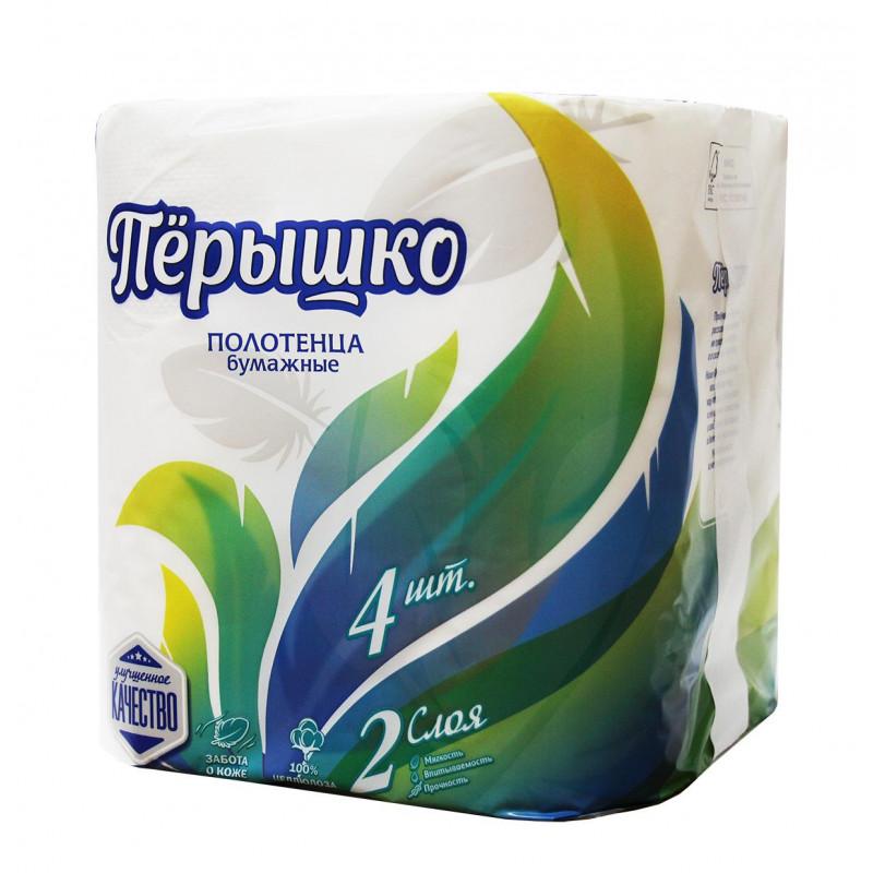 Полотенца бумажные Перышко 2-х слойные, 4 рулона