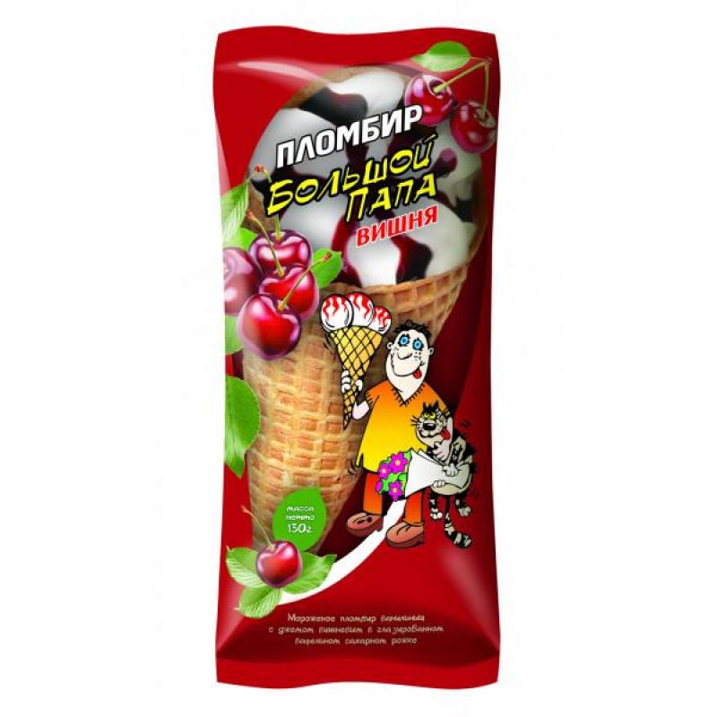 """Мороженое """"Большой папа"""" вишня сахарный рожок 12% жирности, 130гр"""