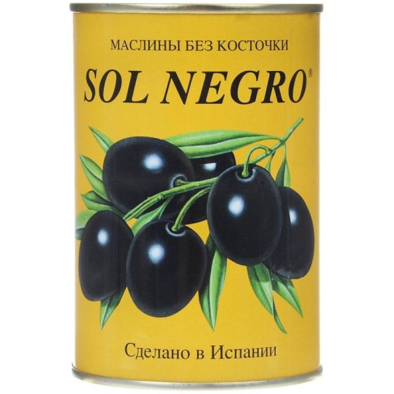 Маслины черные SOL NEGRO без косточки, 360гр