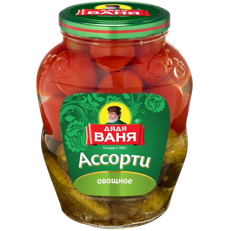 Ассорти (огурцы+томаты) маринованное Дядя Ваня, 1800гр