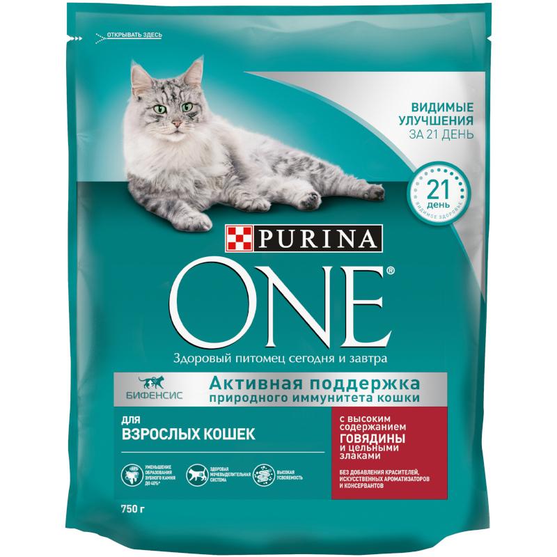 Сухой корм Purina ONЕ для взрослых кошек с говядиной и пшеницей, 750 гр
