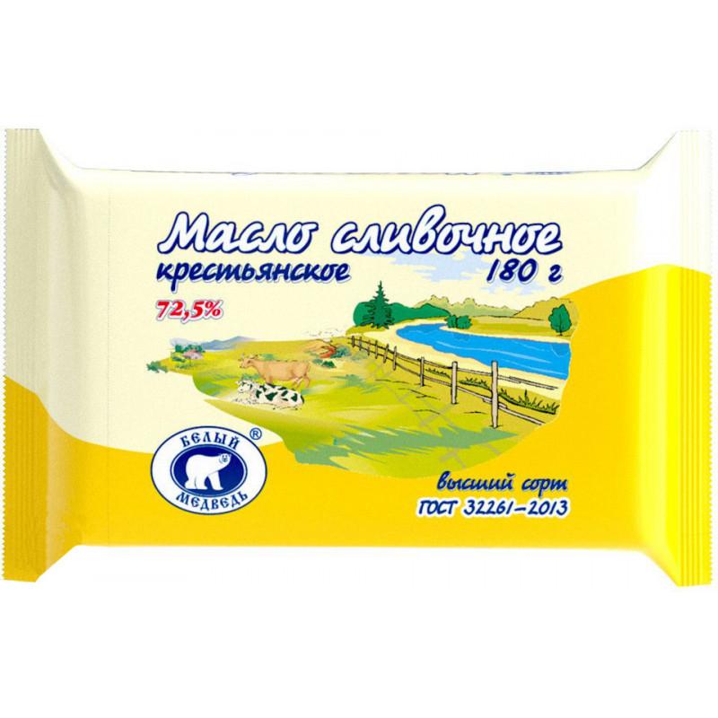 Масло сливочное Крестьянское 72, 5% Белый Медведь, 180гр