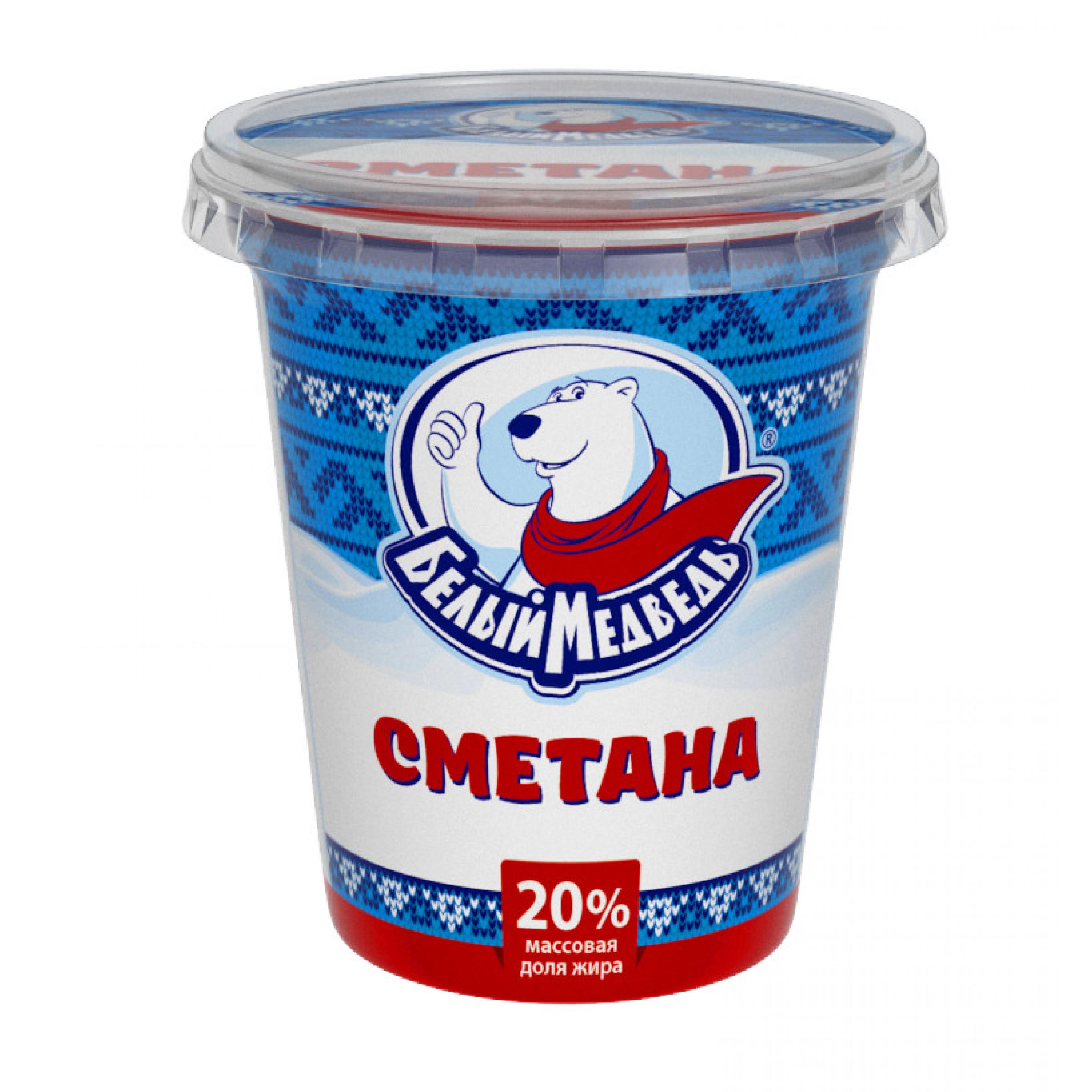 "Сметана ""Белый Медведь"" 20%, 300 г"