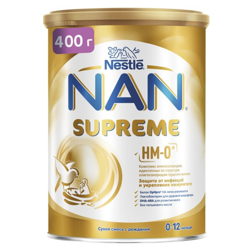 NAN® Supreme сухая смесь с олигосахаридами, с рождения,  400 г