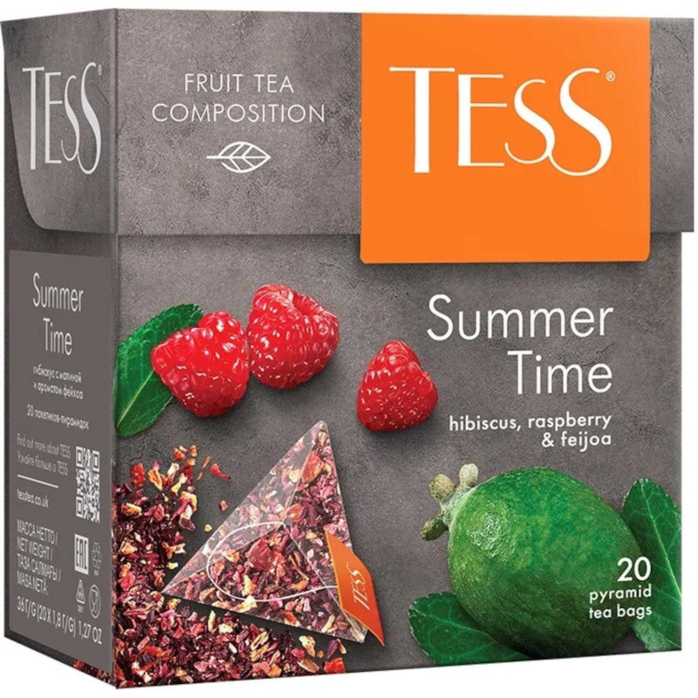 """Чайный напиток """"Summer Time"""" Tess с ароматом малины и фейхоа, 20 пирамидок"""