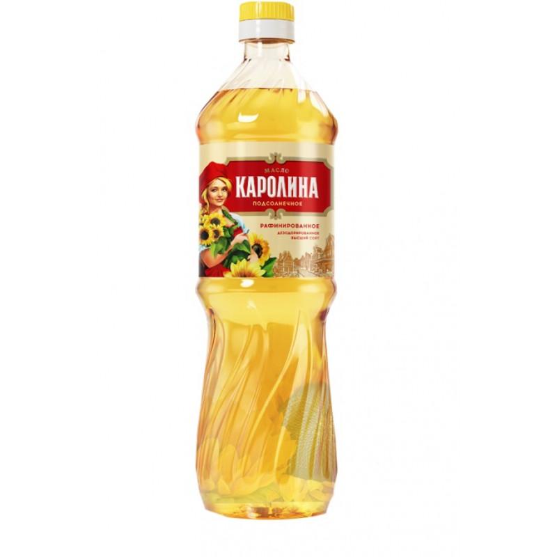 """Масло """"Каролина"""" подсолнечное рафинированное дезодорированное, 0, 9л"""