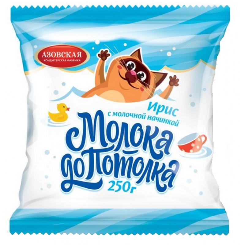 """Ирис с молочной начинкой """"Молока до потолка"""" Азовская кондитерская фабрика, 250гр"""