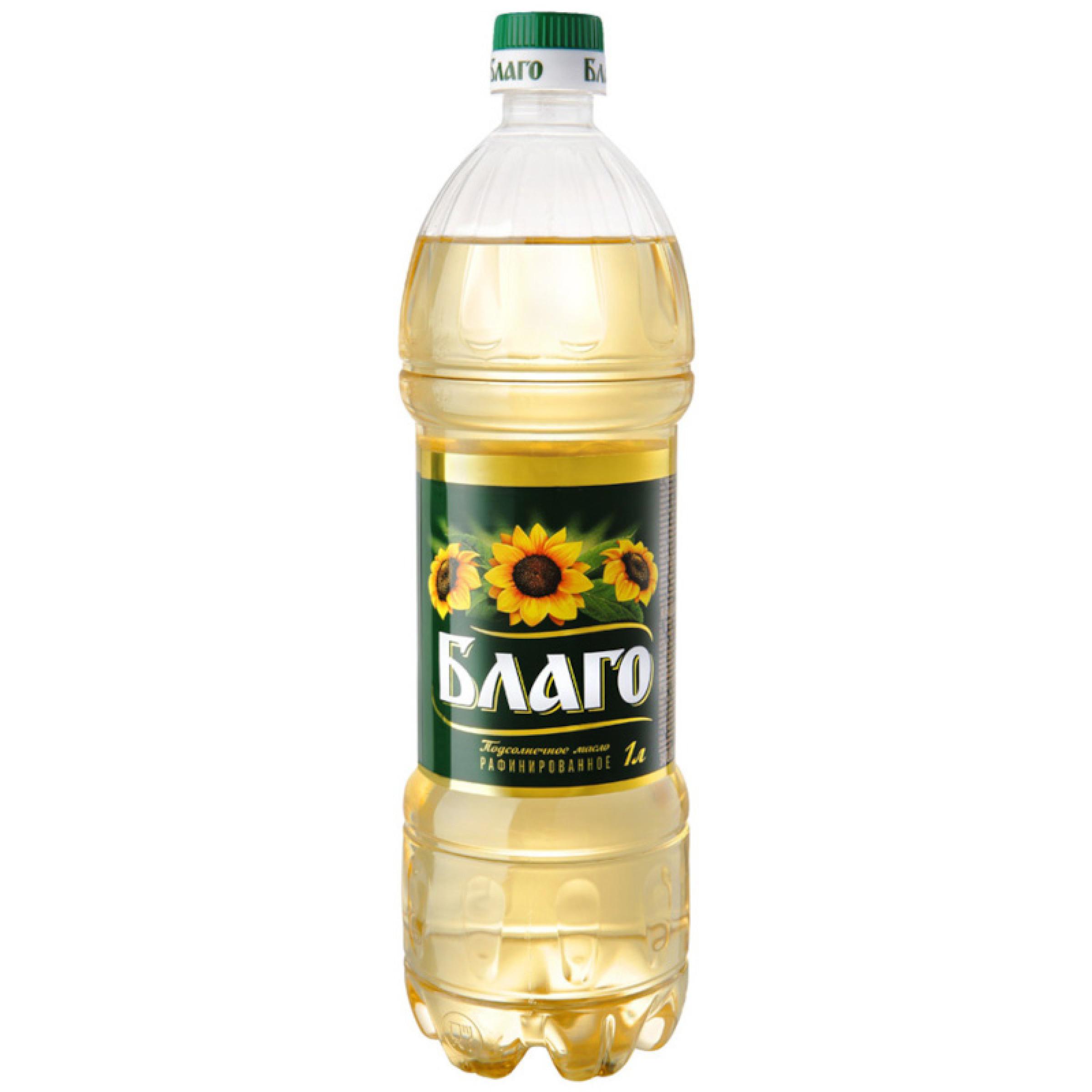 Масло премиум подсолнечное рафинированное дезодорированное Благо, 1л