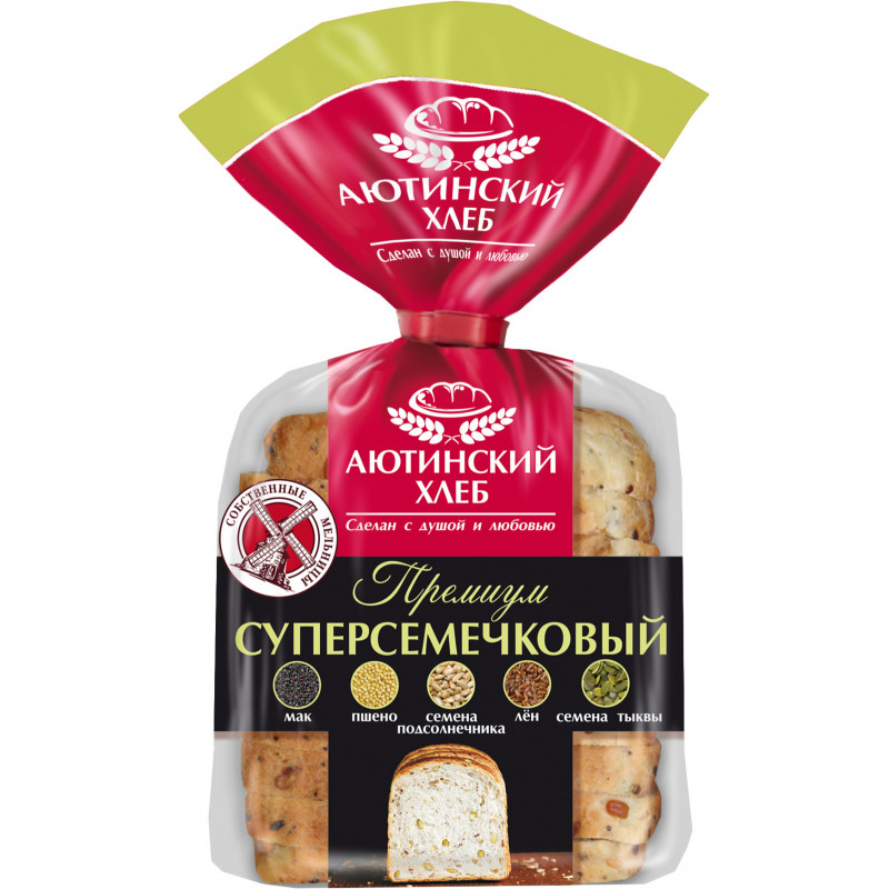 Хлеб пшеничный Премиум суперсемечковый нарезанный Аютинский, 330гр