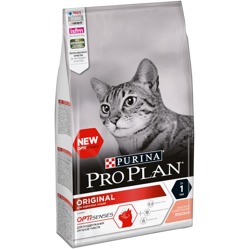 Сухой корм Purina Pro Plan для взрослых кошек с лососем, 1. 5 кг