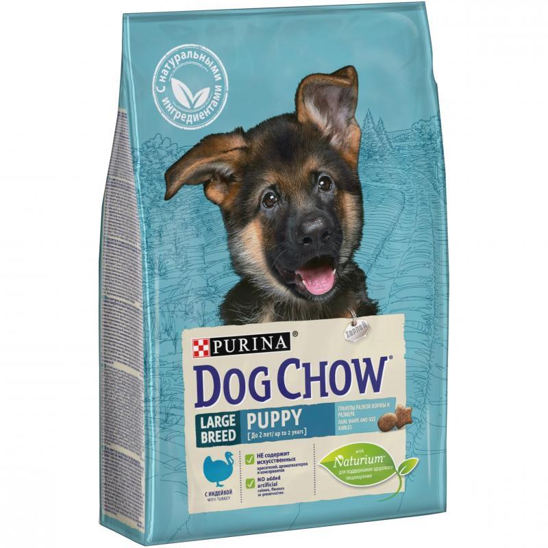 """Сухой корм для щенков крупных пород с индейкой """"Dog Chow"""" Puppy Large Breed, 2. 5кг"""