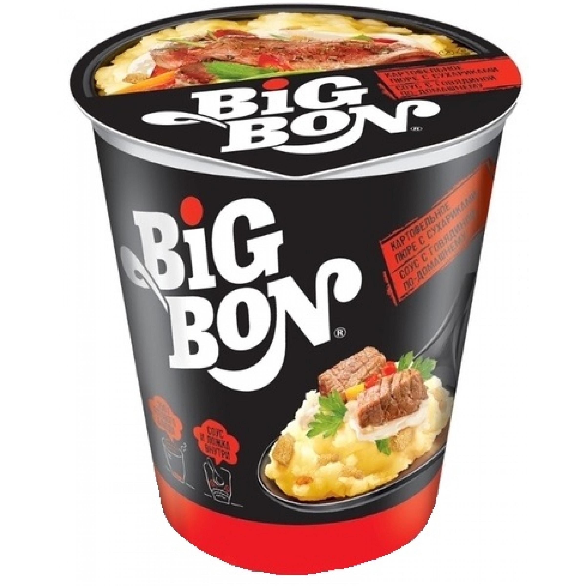 """Картофельное пюре """"BIG BON"""" сухарики и соус с говядиной по-домашнему, 60гр"""