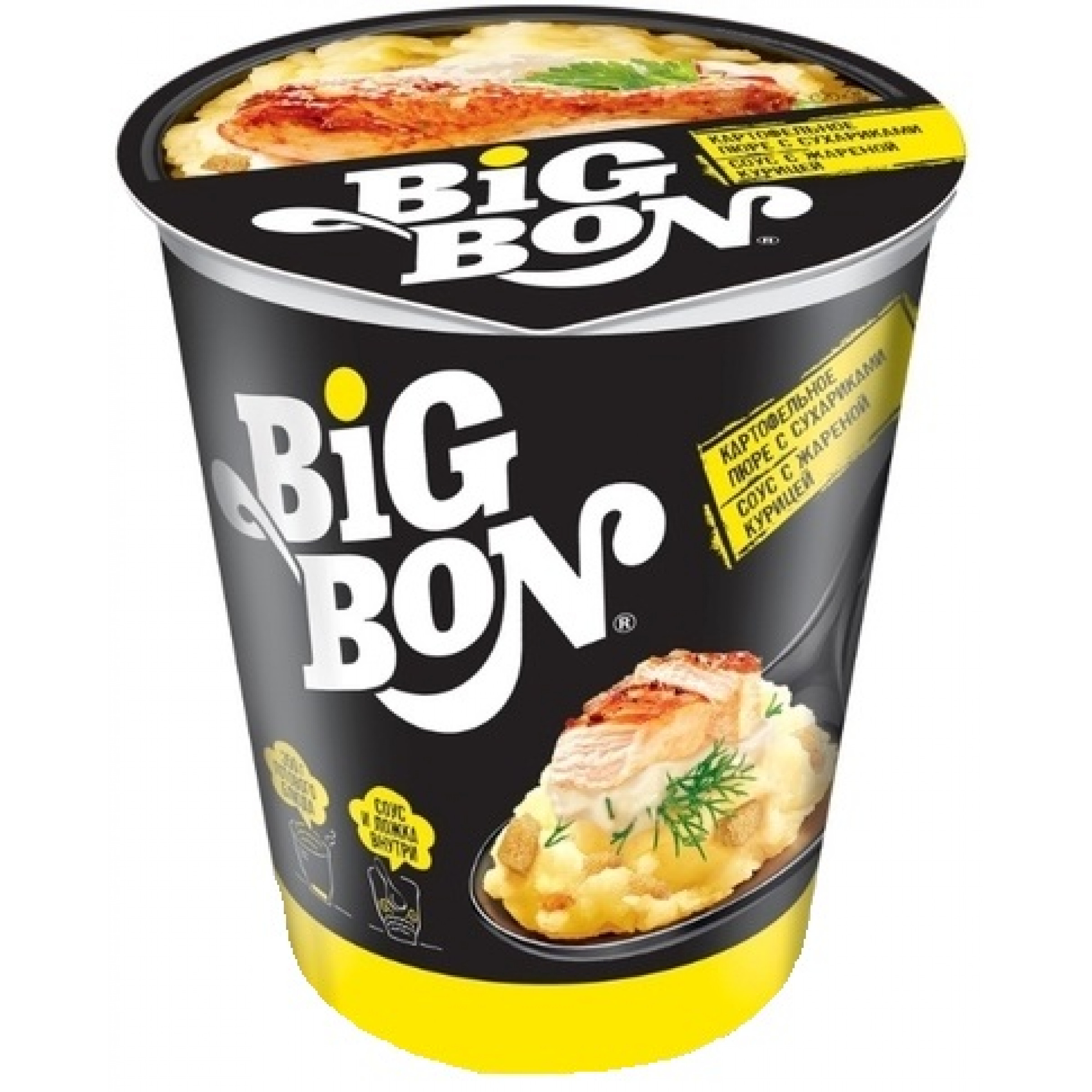"""Картофельное пюре """"BIG BON"""" сухарики и соус с жареной курицей по-домашнему, 60гр"""