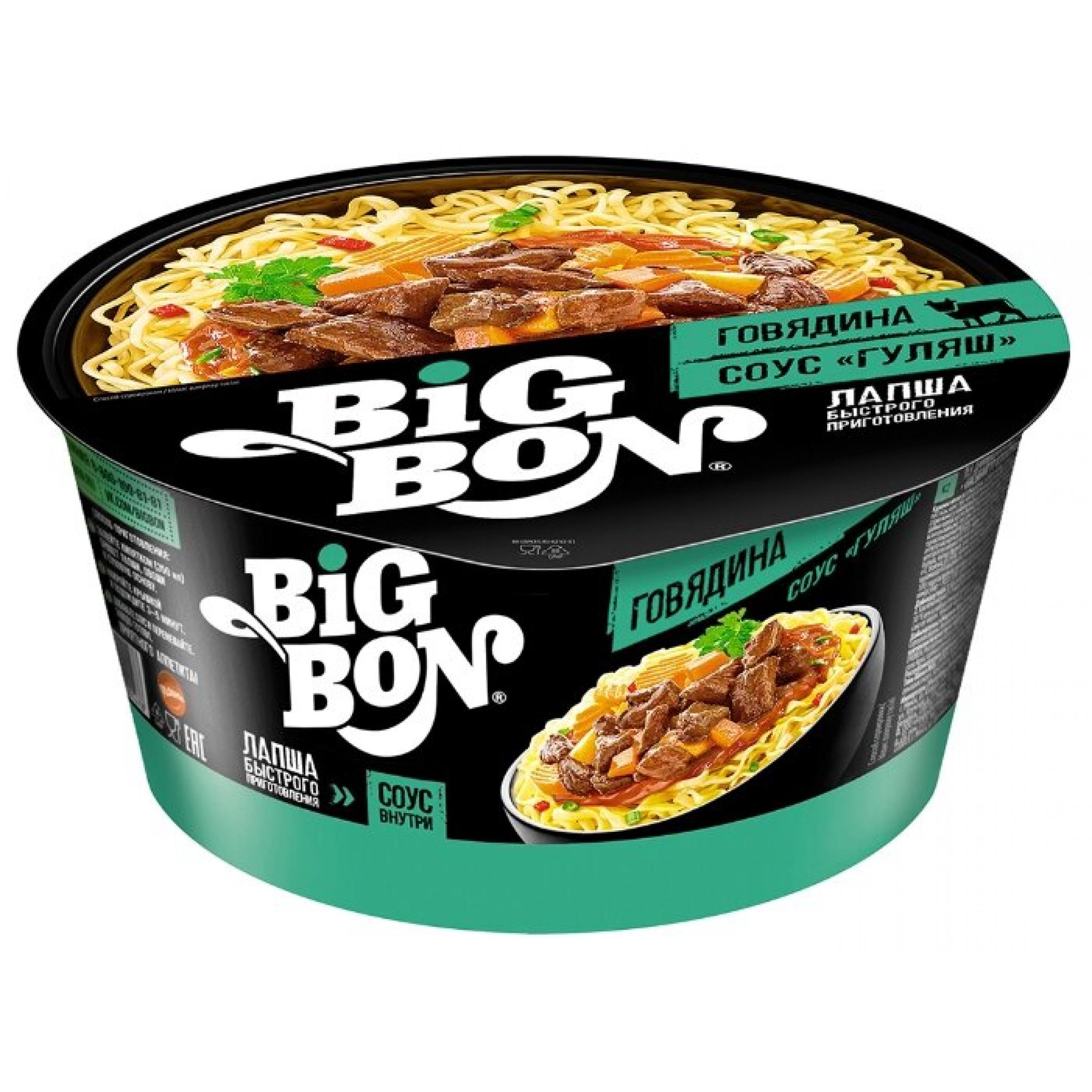 "Лапша ""BIG BON"" говяжья+соус Гуляш,85гр"