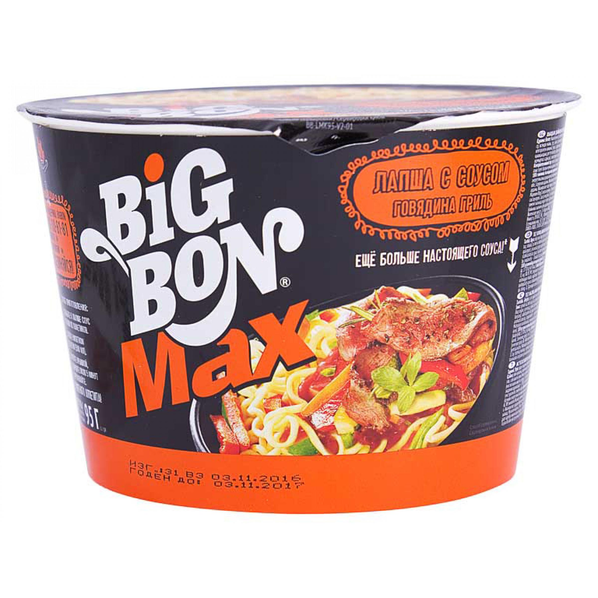 """Лапша """"BIG BON МАХ"""" с соусом и говядиной гриль, 95гр"""
