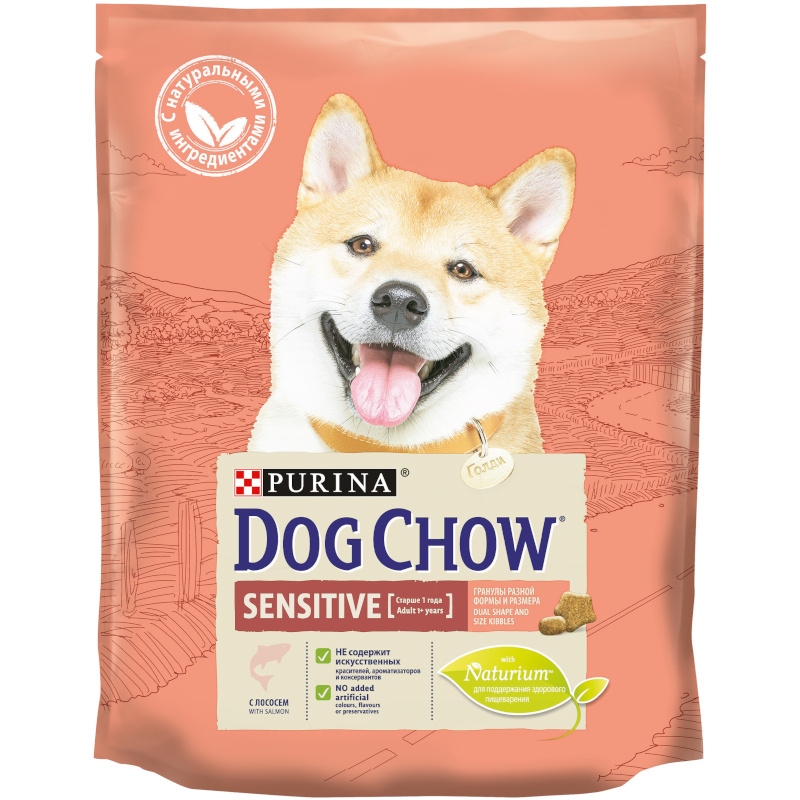 Сухой корм Dog Chow для взрослых собак с чувствительным пищеварением с лососем, 800 гр