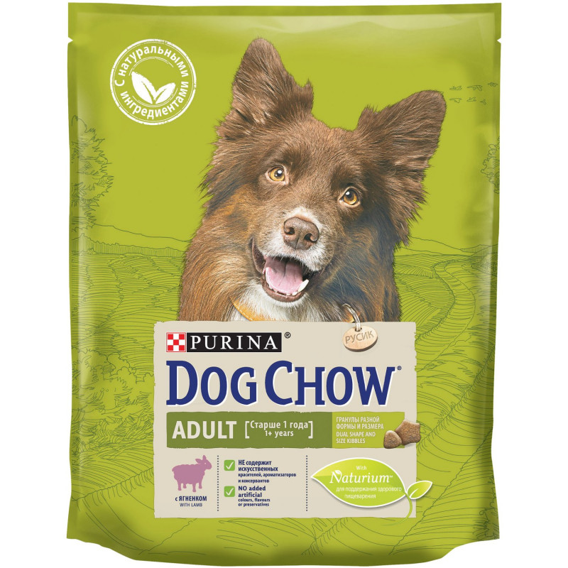 Корм Dog Chow Adult для взрослых собак с ягненком, 800гр