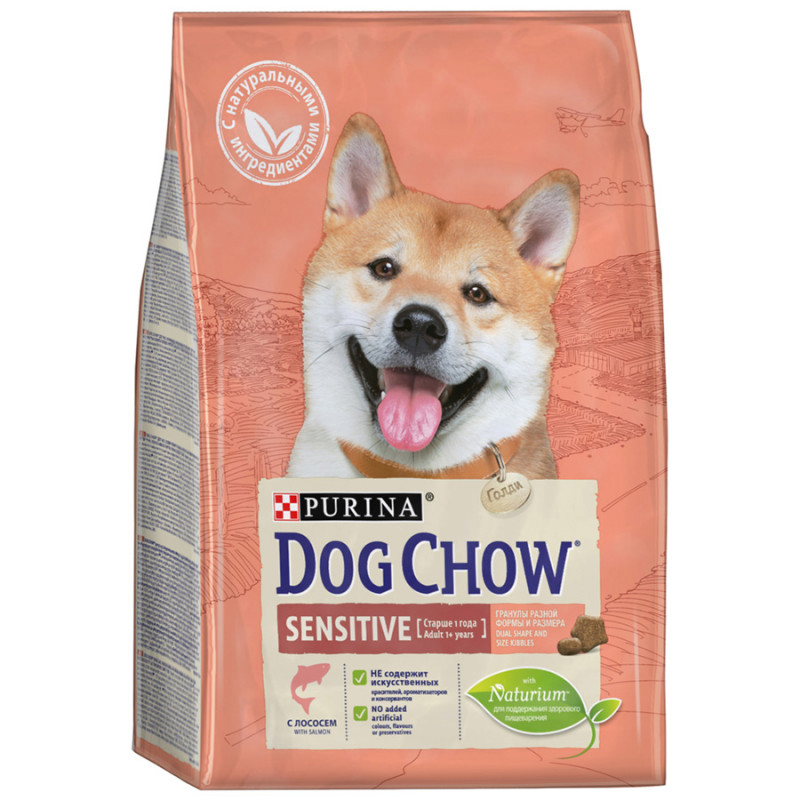 Корм Dog Chow Sensitive для взрослых собак с чувствительным пищеварением с лососем,  2, 5кг