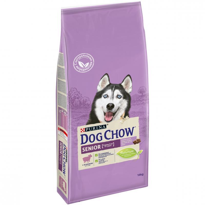Сухой корм для взрослых собак DOG CHOW старше 9 лет ягненок, 14кг